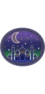 Lot de 8 assiettes en carton Eid Mubarak ovale 30 cm