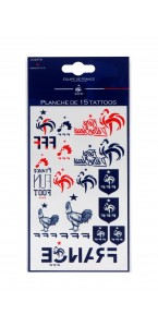 Planche de 15 tattoos fan FFF Coupe du Monde 2018