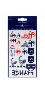 Planche de 15 tattoos fan FFF Coupe du Monde 2018
