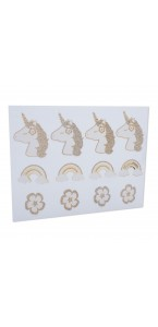 Lot de 24 stickers Licorne paillette champagne 6,5 x 5 cm