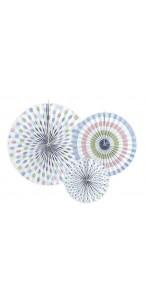 Lot de 3 rosettes Bleu assorti 40+32+23 cm