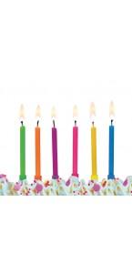 Lot de 6 bougies anniversaire fluo 6,5 cm