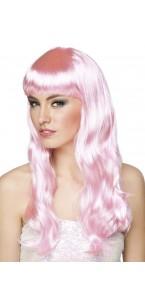 Perruque cheveux longs Chique pour femme rose clair