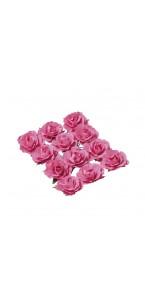 Lot de 12 Roses fuschia sur tige 3,5 cm