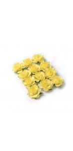 Lot de 12 Roses jaunes sur tige 3,5 cm