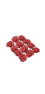 Lot de 12 Roses rouges sur tige 3,5 cm