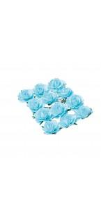 Lot de 12 Roses turquoise sur tige 3,5 cm