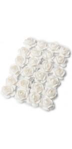 Lot de 24 Roses blanches sur tige 1,3  cm