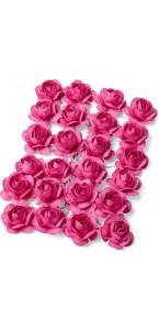 Lot de 24 Roses fuschia sur tige 1,3  cm