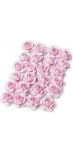Lot de 24 Roses roses sur tige 1,3 cm