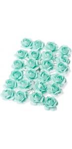 Lot de 24 Roses menthe sur tige 2,1 cm