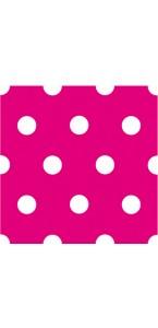 Lot de 16 serviettes intissé rose à pois 25 x 25  cm