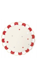 Lot de 8 assiettes vintage Circus rouges festonnées  23 cm