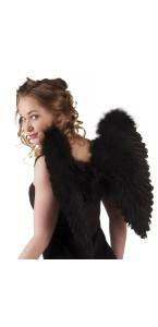 Ailes d'ange noires pour adulte taille 50 cm