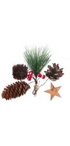 Assortiment de déco forestiere de Noël en bois 4,5, 6, 7, 10 cm