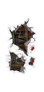 Autocollant silhouettes fantomatique Halloween 35 x 78 cm