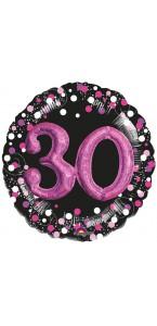 Ballon Sparkling celebration rose 30 ans 81 cm
