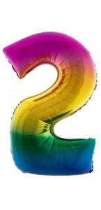 Ballon chiffre 2 aluminium multicolore