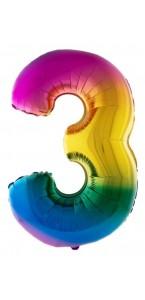 Ballon chiffre 3 aluminium multicolore