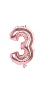 Ballon Chiffre 3 rose gold 86 cm