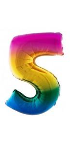 Ballon chiffre 5 aluminium multicolore
