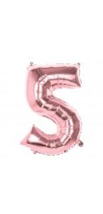 Ballon Chiffre 5 rose gold 86 cm