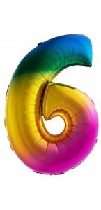 Ballon chiffre 6 aluminium multicolore