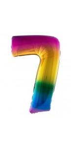Ballon chiffre 7 aluminium multicolore