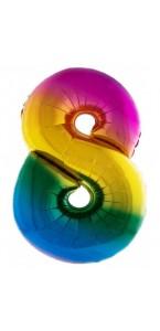 Ballon chiffre 8 aluminium multicolore