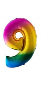 Ballon chiffre 9 aluminium multicolore