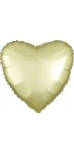 Ballon coeur satin luxe jaune pastel 43 cm