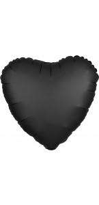 Ballon coeur satin luxe noir 43 cm