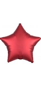 Ballon étoile satin luxe rouge 43 cm