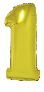 Ballon forme chiffre 1 aluminium or