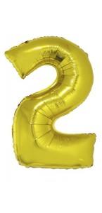 Ballon forme chiffre 2 aluminium or