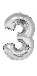 Ballon forme chiffre 3 aluminium argent