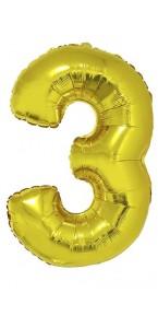 Ballon forme chiffre 3 aluminium or
