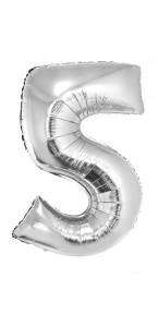 Ballon forme chiffre 5 aluminium argent