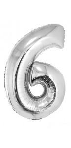 Ballon forme chiffre 6 aluminium argent