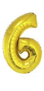 Ballon forme chiffre 6 aluminium or
