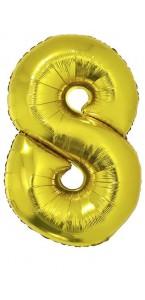 Ballon forme chiffre 8 aluminium or