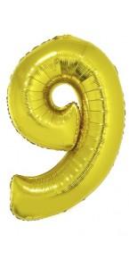 Ballon forme chiffre 9 aluminium or
