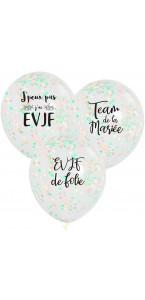 Lot de 3 ballons EVJF en latex confettis rose, blanc et argent