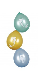 Lot de 6 ballons Sirène en latex 25 cm