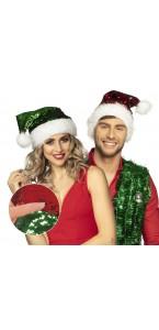 Bonnet Père Noël sequins réversible rouge et vert