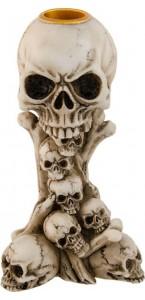 Bougeoir tête de mort résine Halloween H 14,5 cm