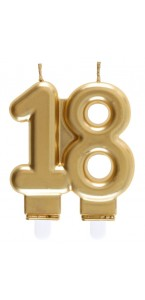 Bougie anniversaire 18 ans or