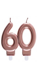 Bougie anniversaire 60 ans rose gold