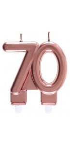Bougie anniversaire 70 ans rose gold