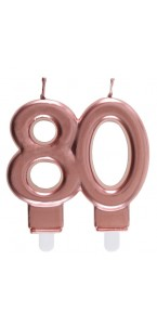 Bougie anniversaire 80 ans rose gold